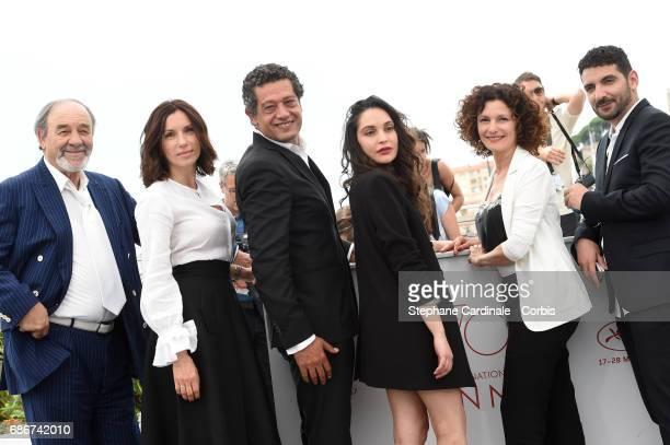 Actors Mohamed Djouhri Aure Atika Hassan Kachach Hania Amar Nadia Kaci and director Karim Moussaoui attend 'Waiting For Swallows ' photocall during...