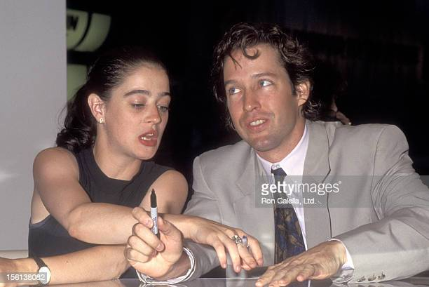 Actors Moira Kelly and DB Sweeney attend the 1992 Video Software Dealers Association Convention on July 26 1992 at Las Vegas Convention Center in Las...