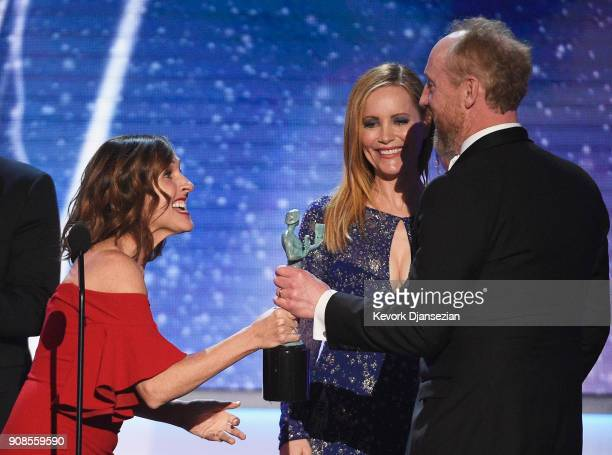 Actors Mollly Shannon Leslie Mann and Matt Walsh winner of Outstanding Performance by an Ensemble in a Comedy Series for 'Veep' onstage during the...