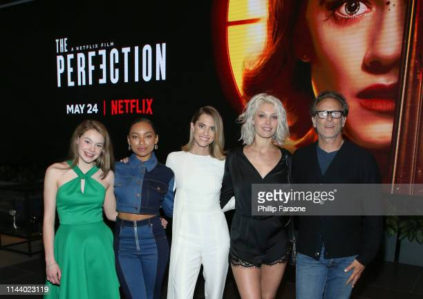 Actors Molly Grace Logan Browning Allison Williams Alaina Huffman and Steven Weber attend the Netflix LA special screening of THE PERFECTION at...