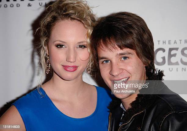 actors molly mccook and devon werkheiser arrive at the avenue q los angeles opening