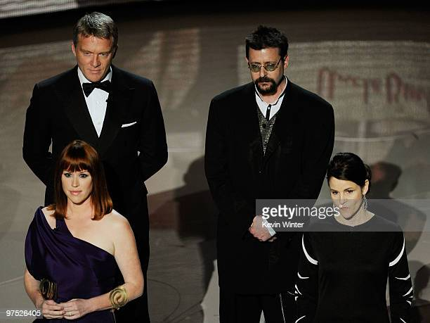 Actors Molly Ringwald Anthony Michael Hall Judd Nelson and Ally Sheedy present tribute to late director John Hughes onstage during the 82nd Annual...