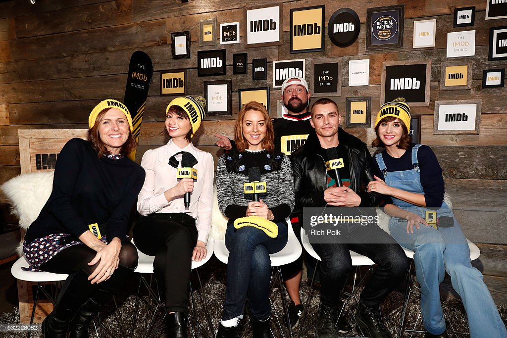 Actors Molly Shannon, Kate Micucci, Aubrey Plaza, Dave Franco and Alison Brie of 'The Little Hours' with Kevin Smith at The IMDb Studio featuring the Filmmaker Discovery Lounge, presented by Amazon Video Direct: Day One during The 2017 Sundance Film Festival on January 20, 2017 in Park City, Utah.
