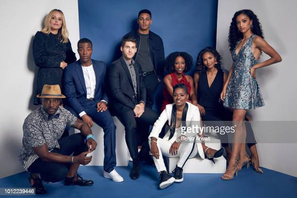 Actors Monet Mazur Taye Diggs Daniel Ezra Cody Christian Michael Evans Behling BreZ Karimah Westbrook Greta Onieogou and Samantha Logan of CW's 'All...
