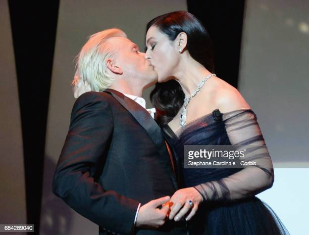 Actors Monica Belluccia and Alex Lutz perform onstage at the 'Ismael's Ghosts ' screening and Opening Gala during the 70th annual Cannes Film...