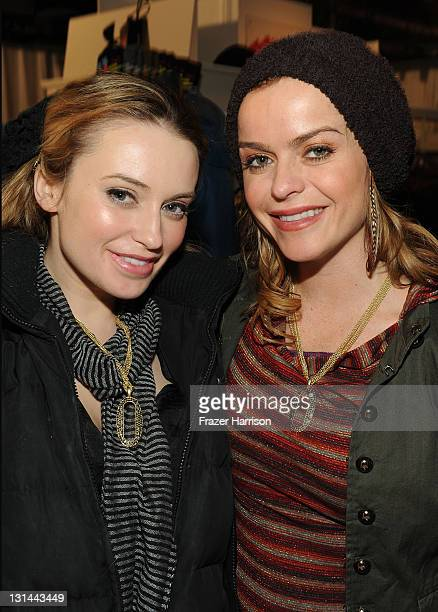 Actors Monica Keena and Taryn Manning flashing their new lia sophia bling at The Samsung Galaxy Tab Lift on January 24 2011 in Park City Utah