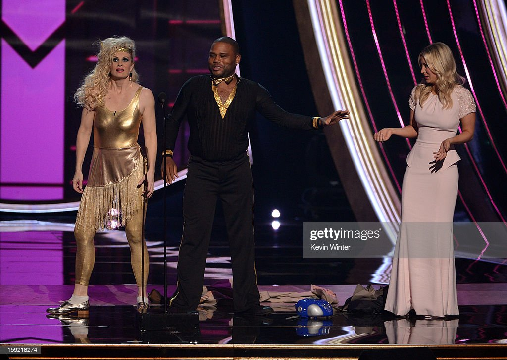 Actors Monica Potter, Anthony Anderson, and Kaley Cuoco speak onstage at the 39th Annual People's Choice Awards at Nokia Theatre L.A. Live on January 9, 2013 in Los Angeles, California.