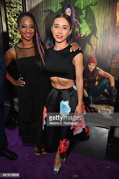 Actors Monique Coleman and Olesya Rulin attend the premiere of Disney Channel's 'Descendants' at Walt Disney Studios on July 24 2015 in Burbank...