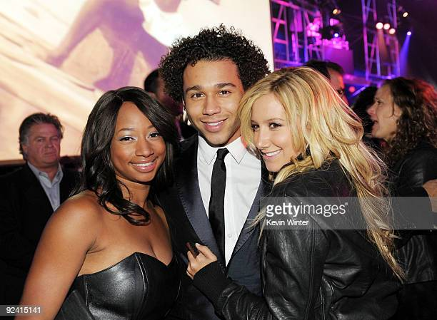 Actors Monique Coleman Corbin Bleu and Ashley Tisdale pose at the after party for the premiere of Sony Pictures' This Is It at LA Live's Nokia...