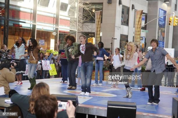 "Actors Monique Coleman, Vanessa Anne Hudgens, Corbin Bleu, Lucas Grabeel, Ashley Tisdale and Zac Efron of the ""High School Musical"" perform live..."