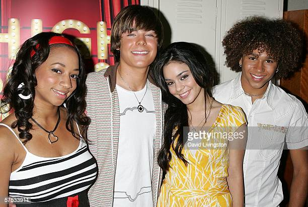 Actors Monique Coleman, Zac Efron, Vanessa Anne Hudgens and Corbin Bleu attend a Q&A session with the cast and producers of the Disney Channel and...