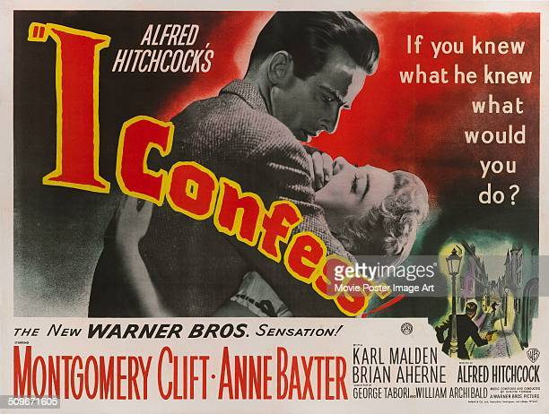 Actors Montgomery Clift and Anne Baxter appear on the poster for the Warner Bros movie 'I Confess' 1953