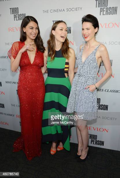 Actors Moran Atias Olivia Wilde and Loan Chabanol attend The Cinema Society Revlon screening of Sony Pictures Classics' Third Person on June 17 2014...