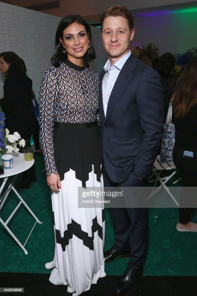 Actors Morena Baccarin (L) and Ben McKenzie attend Swarovskis Times Square Celebration at Hudson Mercantile, honoring the brands most recent store opening in New York City, on April 12, 2018.