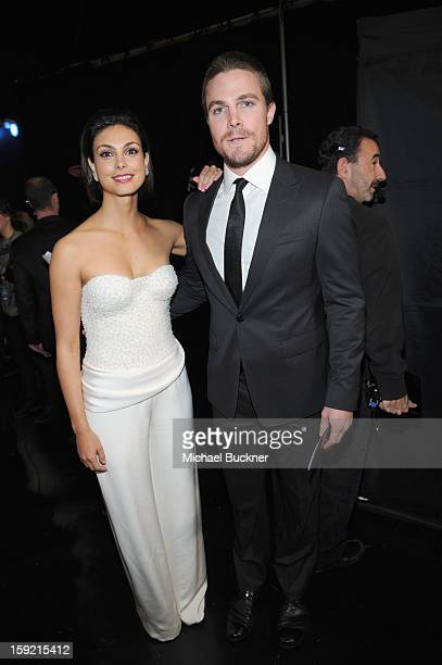 Actors Morena Baccarin and Stephen Amell attend the 39th Annual People's Choice Awards at Nokia Theatre LA Live on January 9 2013 in Los Angeles...