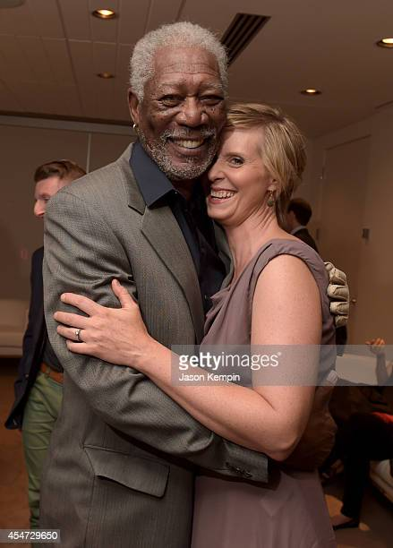 Actors Morgan Freeman and Cynthia Nixon attend the Ruth Alex premiere during the 2014 Toronto International Film Festival at Roy Thomson Hall on...