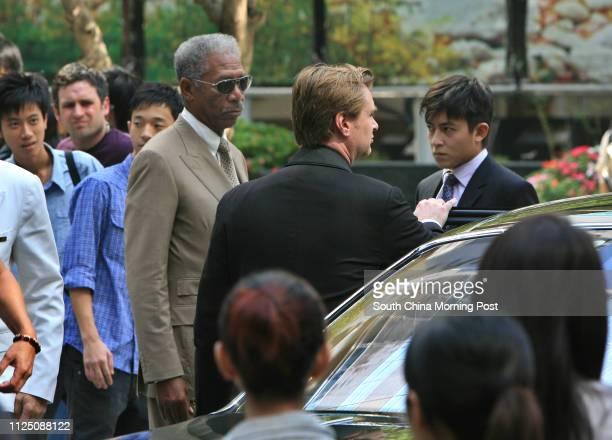 Actors Morgan Freeman and Edison Chen Koonhei take part in shooting the Batman movie The Dark Knight in Hong Kong Film director Christopher Nolan at...