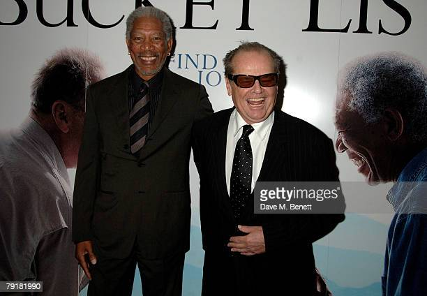 Actors Morgan Freeman and Jack Nicholson attend the UK film premiere of 'The Bucket List' at the Vue Cinema on January 23 2008 in London England