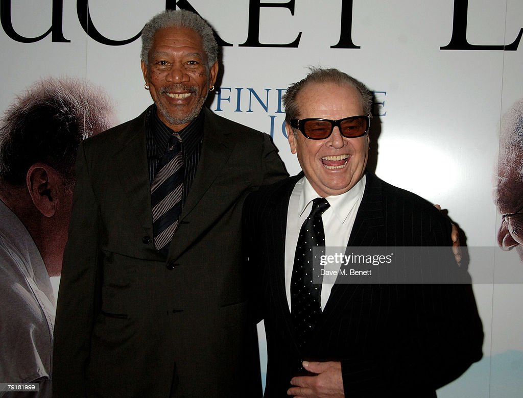 Actors Morgan Freeman and Jack Nicholson attend the UK film premiere of 'The Bucket List', at the Vue Cinema on January 23, 2008 in London, England.