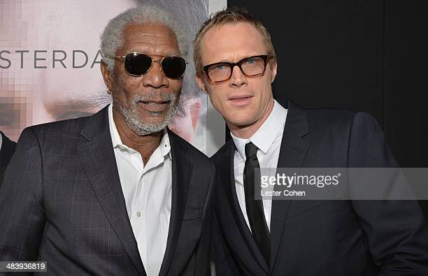Actors Morgan Freeman and Paul Bettany attend the premiere of Warner Bros Pictures and Alcon Entertainment's Transcendence at Regency Village Theatre...