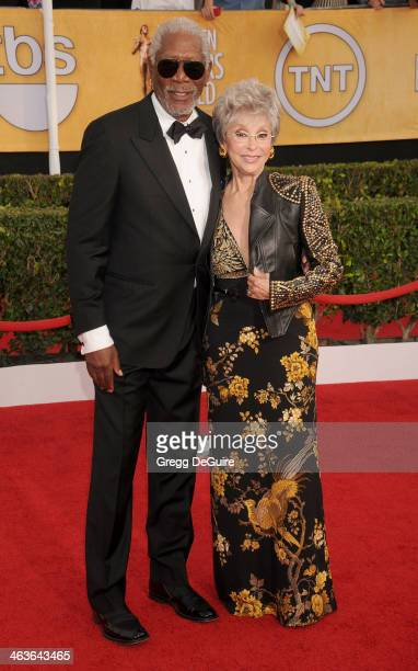 Actors Morgan Freeman and Rita Moreno arrive at the 20th Annual Screen Actors Guild Awards at The Shrine Auditorium on January 18 2014 in Los Angeles...