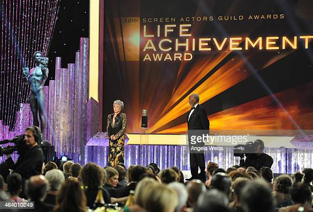 Actors Morgan Freeman and Rita Moreno attend the 20th Annual Screen Actors Guild Awards at The Shrine Auditorium on January 18, 2014 in Los Angeles,...