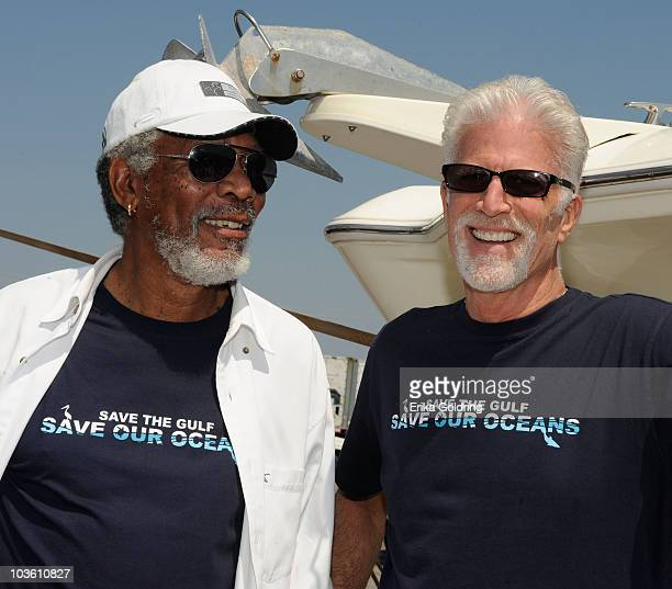 Actors Morgan Freeman and Ted Danson attend the Nautica Celebrities Join Oceana to Support Gulf of Mexico Expedition at Gulfport Marina on August 24...