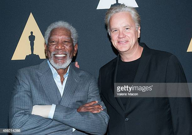 "Actors Morgan Freeman and Tim Robbins arrive at the Academy Of Motion Picture Arts And Sciences' 20th Anniversary Screening Of ""The Shawshank..."
