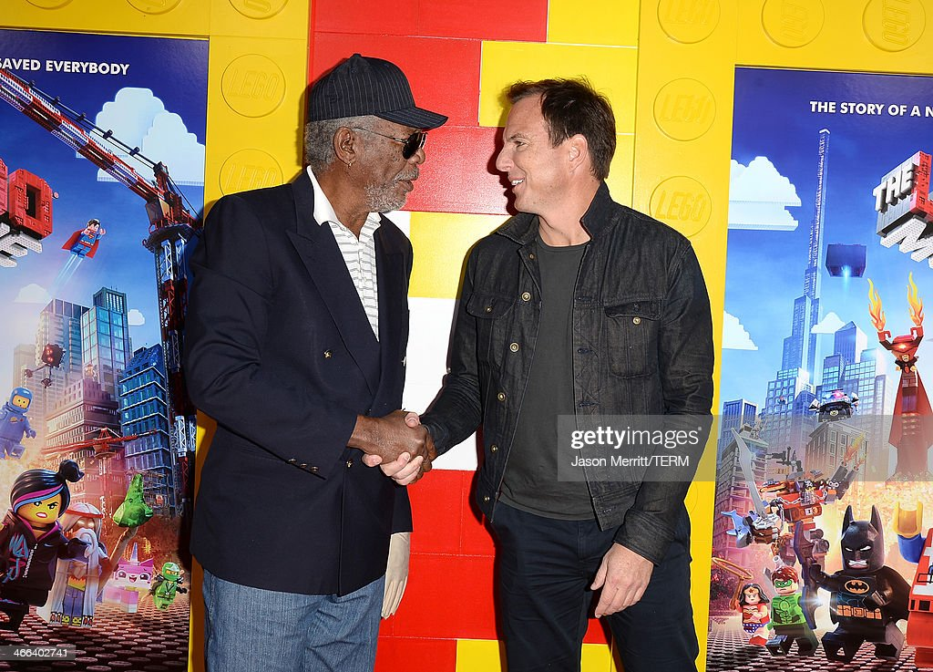 Actors Morgan Freeman and Will Arnett attend the premiere of 'The LEGO Movie' at Regency Village Theatre on February 1, 2014 in Westwood, California.