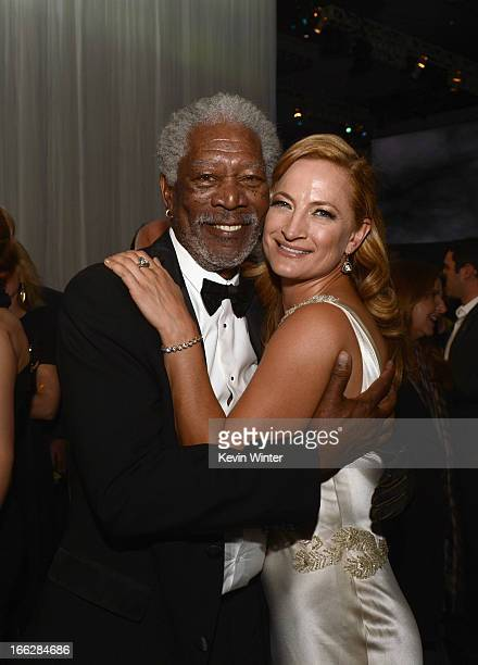 "Actors Morgan Freeman and Zoe Bell attend the after party for the premiere of Universal Pictures' ""Oblivion"" at Dolby Theatre on April 10, 2013 in..."