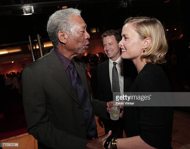 Actors Morgan Freeman Greg Kinnear and Radha Mitchell attend the afterparty for the premiere of MGM's Feast of Love at the Academy of Motion Picture...