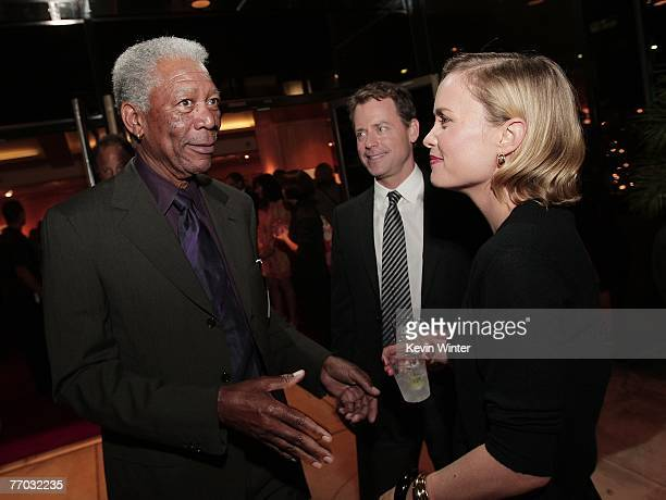 Actors Morgan Freeman Greg Kinnear and Radha Mitchell during the afterparty for the premiere of MGM's Feast of Love at the Academy of Motion Picture...