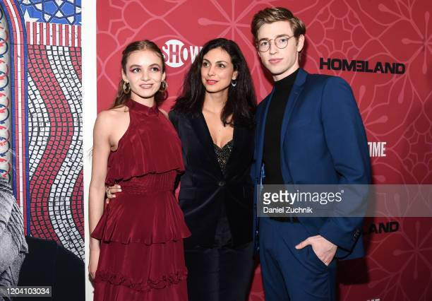 Actors Morgan Saylor Morena Baccarin and Jackson Pace attend Showtime's Homeland Season 8 premiere at Museum of Modern Art on February 04 2020 in New...
