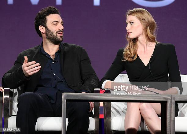 Actors Morgan Spector and Alyssa Sutherland of the documentary series 'Time The Kalief Browder Story' speak onstage during the Spike TV portion of...