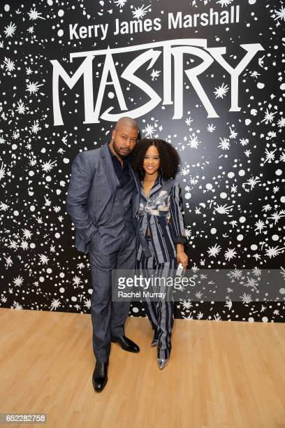 Actors Morocco Omari and Serayah McNeill attend MOCA's Leadership Circle and Members' Opening of Kerry James Marshall Mastry at MOCA Grand Avenue on...