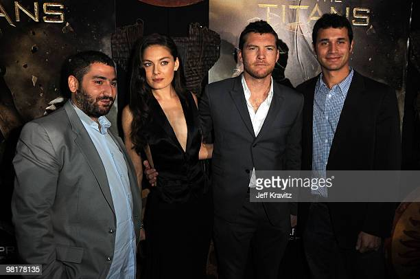 """Actors Mouloud Achour, Alexa Davalos, Sam Worthington and Director Louis Leterrier arrive to the premiere """"Clash Of The Titans"""" held at Grauman's..."""