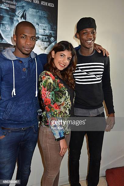 Actors Moussa Sylla Donia Eden and Vie Koita attend 'L'Etat Sauvage' Paris Premiere at Cinema Arlequin on April 23 2014 in Paris France