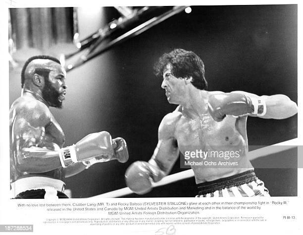 Actors Mr T and Sylvester Stallone on set of the MGM/United Artist movie Rocky III in 1982