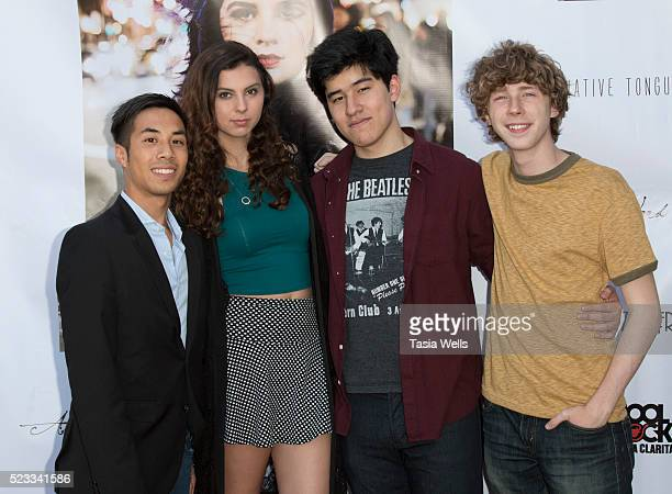 Actors Murphy Pham Taylor Hay Paul Stevans and Joey Luthman attend Lauren Dair's CD release party at the Arena on April 22 2016 in Simi Valley...