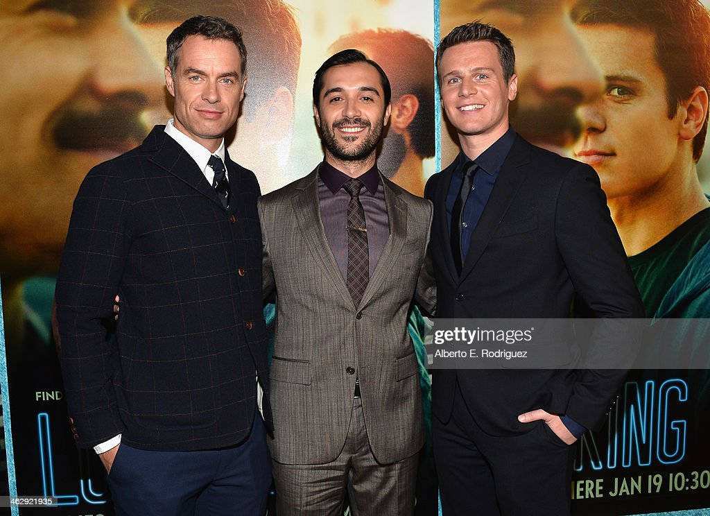 Actors Murray Bartlett, Frankie J. Alvarez and Jonathan Groff arrive to the premiere of HBO's 'Looking' at Paramount Theater on the Paramount Studios lot on January 15, 2014 in Hollywood, California.