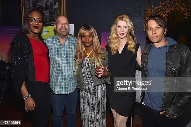 Actors Mya Taylor Jason Stuart Kitana Kiki Rodriguez Mickey O'Hagan and writer/director Sean Baker attend an advanced screening of Magnolia Pictures'...