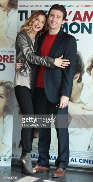 Actors Myriam Catania and Alessandro Roja attend Tutto L'Amore Del Mondo photocall at Adriano Cinema on March 15 2010 in Rome Italy