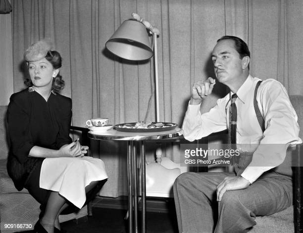 Actors Myrna Loy and William Powell at rehearsal in the Lux Radio Theater studio They prepare to perform Hired Wife based on the 1940 theatrical film...