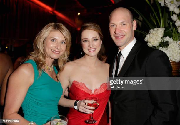 Actors Nadia Bowers Kristen Connolly and Corey Stoll attend The Weinstein Company Netflix's 2014 Golden Globes After Party presented by Bombardier...