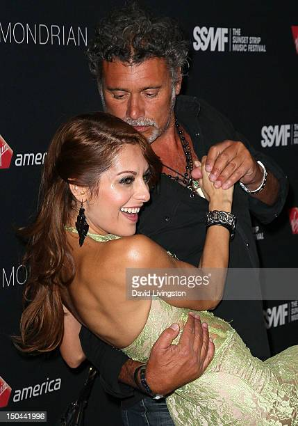 Actors Nadia Lanfranconi and Steven Bauer attend the 5th Annual Sunset Strip Music Festival's official VIP party hosted by Virgin America Black Star...