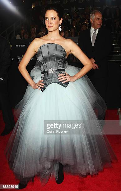 Actors Nadine Garner and Shane Bourne arrives for the 51st TV Week Logie Awards at the Crown Towers Hotel and Casino on May 3 2009 in Melbourne...