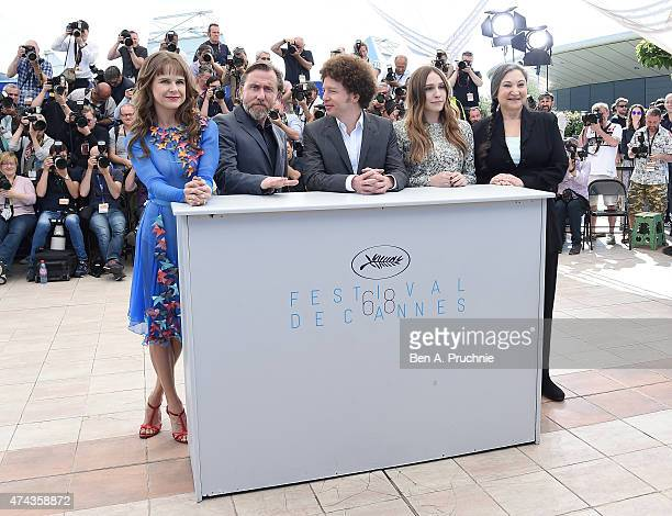 Actors Nailea Norvind and Tim Roth director Michel Franco and actors Sarah Sutherland and Robin Bartlett attend the 'Chronic' Photocall during the...