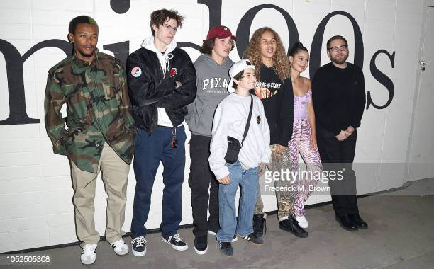Actors NaKel Smith Ryder McLaughlin Gio Galicia Sunny Suljic Olan Prenatt actress Alexa Demie and director/writer Jonah Hill attend the Premiere of...