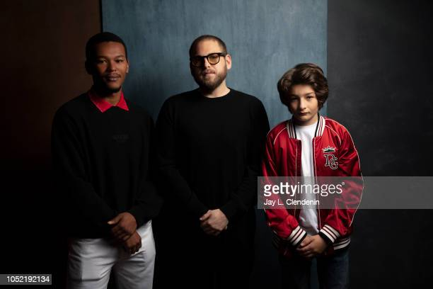 Actors NaKel Smith writer/director Jonah Hill and Sunny Suljic from 'Mid90s' are photographed for Los Angeles Times on September 9 2018 in Toronto...