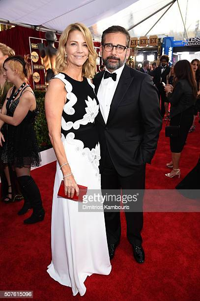 Actors Nancy Carell and Steve Carell attend The 22nd Annual Screen Actors Guild Awards at The Shrine Auditorium on January 30 2016 in Los Angeles...